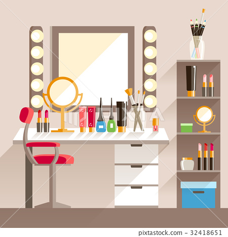 Vector flat Makeup worker's workplace. Mirror 32418651