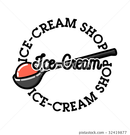 Color vintage ice-cream emblem 32419877