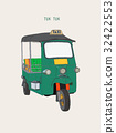 uk Tuk in Bangkok of Thailand. Vector Illustration 32422553
