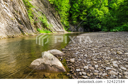 rocky shore of calm forest river 32422584