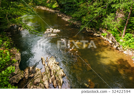 river with rocky shore. view from above 32422594
