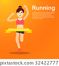 young girl running and training for marathon sport 32422777