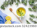 Rosemary tea with lemon top view 32423960