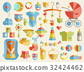 Newborn infant themed cute flat set. Baby care 32424462