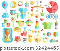 Newborn infant themed cute flat set. Baby care 32424465
