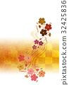 花柄【和風背景・シリーズ】 32425836
