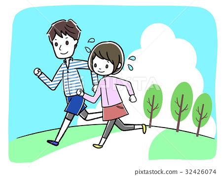 马拉松赛跑 慢跑 矢量 32426074