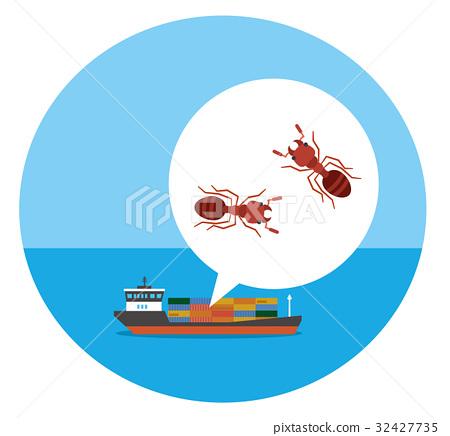 螞蟻 矢量 貨船 32427735