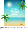 Beach typographic background with palms eps10 32427745