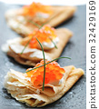 Russian Pancakes Blini with Red Caviar 32429169