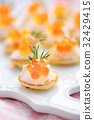 Mini Blini with Red Caviar and Sour Cream 32429415