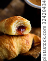 Freshly Baked Croissants with Coffee 32429434