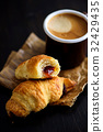 Freshly Baked Croissants with Coffee 32429435