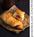 Freshly Baked Croissants with Coffee 32429436