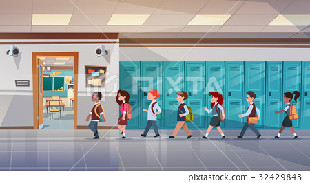 Group Of Pupils Walking In School Corridor To 32429843