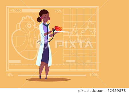 Female Doctor Cardiologist Examining Heart With 32429878