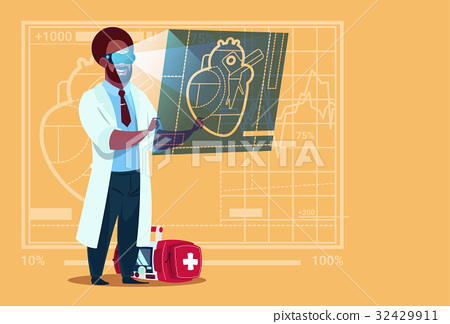 African American Doctor Cardiologist Examining 32429911