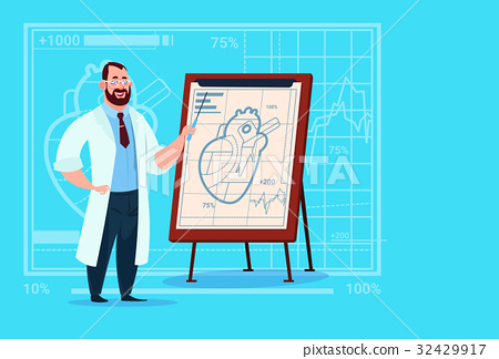 Doctor Cardiologist Over Flip Chart With Heart 32429917