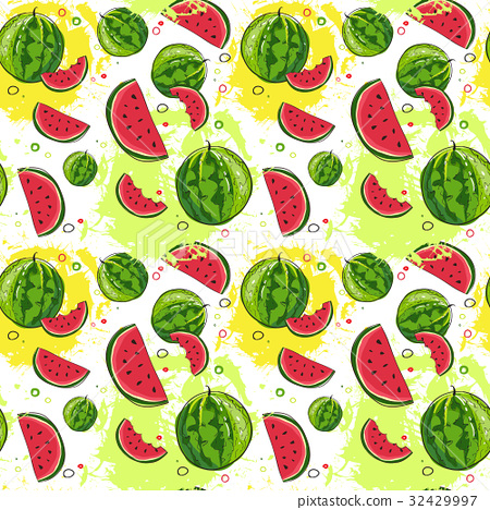 Seamless Pattern Watermelon Tropical Summer 32429997