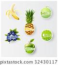 Set of fruit labels splash, sticker, advertisement 32430117