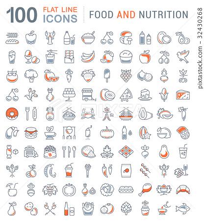 Set Line Icons Food 32430268