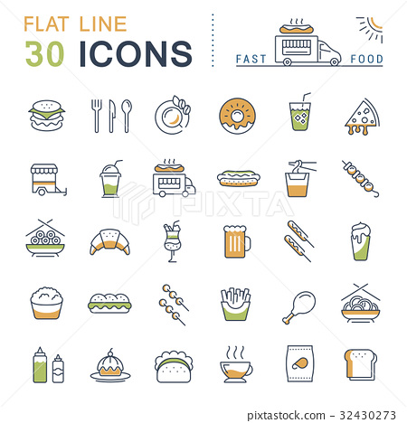 Set Vector Flat Line Icons Fast Food 32430273