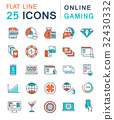 Set Vector Flat Line Icons Online Gaming 32430332