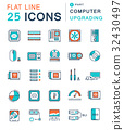 Set Vector Flat Line Icons Upgrading Computer 32430497