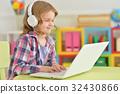 女孩 少女 便携电脑 32430866