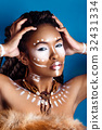 African style woman in ethnic jewelry.Studio shot 32431334