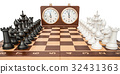 Checkerboard with figures and chess clock 32431363