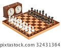 Chess with chess clock, 3D rendering 32431364