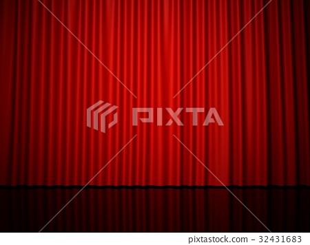 3D rendering red stage curtain 32431683