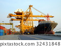 Industri Cargo ship, crane and container 32431848