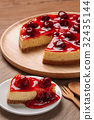 Delicious homemade cheesecake with strawberries 32435144