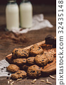 Chocolate cookies , mike on  wooden table. 32435148