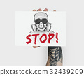 Stop Anti Against Abandon Gas Mask Word Graphic 32439209