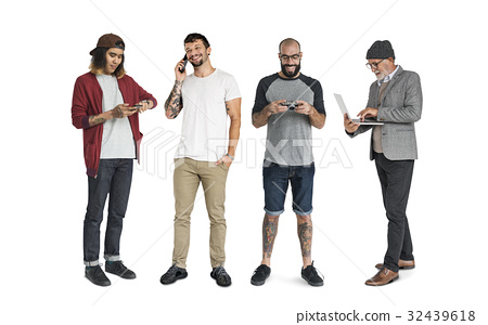 Group of people with digital devices communication technology 32439618