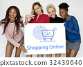 Showing Cart Trolley Shopping Online Sign Graphic 32439640