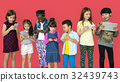 Happiness group of cute and adorable children using digital devices 32439743