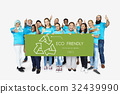 Group of Diverse People Showing Recycle Sign Eco Friendly Save Earth Word Graphic 32439990