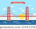Flat style Golden Gate Bridge 32441356