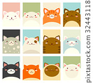 Set of banners with cute cats 32443118