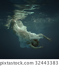 Woman in a dress under the water 32443383