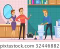 Customer Family And Plumber Repairing Toilet  32446882