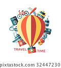 Digital vector yellow travel icons 32447230