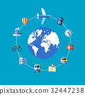 Digital vector blue travel icons 32447238