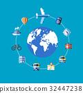 Digital vector blue travel icons 32447238