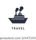 Digital vector black travel boat 32447250