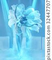 The studio shot of female modern dancer on blue 32447707